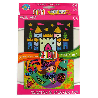 £3.90 • Buy Childrens 2 In 1 Art Pack, Foil Art And Scratch And Sticker Art