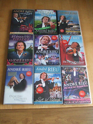 9 Used Andre Rieu DVD's Vienna,Maastricht,Romantic,Dublin,Dancing Skies,Dutch • 38£