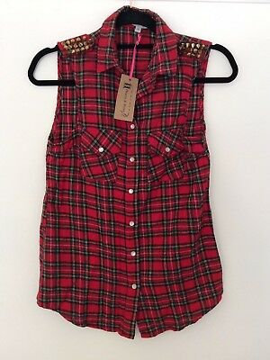 £12 • Buy Topshop Hearts And Bows Cotton Red Check Tartan Flannel Top, UK Size 8 New