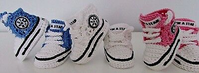 Baby Crochet Hand-made Shoes Boots Booties Knitting First Shoes Laces • 5.99£