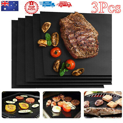AU12.15 • Buy 3pcs Reusable BBQ Mat Teflon Fiber Non-Stick BBQ Grill Mat Sheet Hot Plate AU