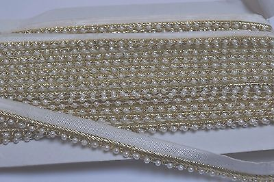 INDIAN ETHNIC PEARL BEADED RIBBON LACE TRIM ON GOLD ZARI BORDER- SOLD By METRE • 2.50£