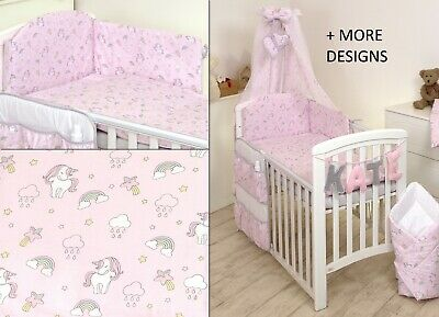 £34.99 • Buy Unicorn On Pink Baby Bedding Set Cot 120x60-cot Bed140x70 -bumper+covers+duvet