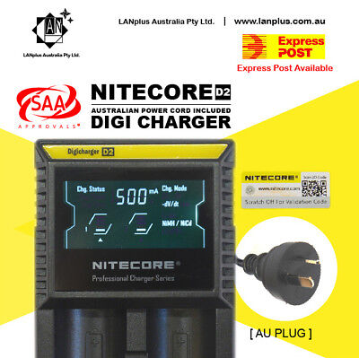 AU29.85 • Buy Nitecor D2 Digicharger LCD Smart Battery Charger Lifepo4 20700 1865 26650 AA A