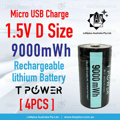 AU63.99 • Buy 4x 1.5V 9000mWh D Size Rechargeable Lithium Battery W Micro USB Port > NIMH Cell