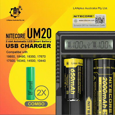 AU40.99 • Buy Nitecore UM20 2 Slot Smart Battery Charger + 2x Samsung 25R 2500mAh Rechargeable