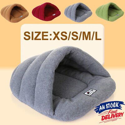 AU24.99 • Buy Pet Dog Cave Pad Sleeping Bag Bed Mat Warm Puppy Nest House Soft Cat