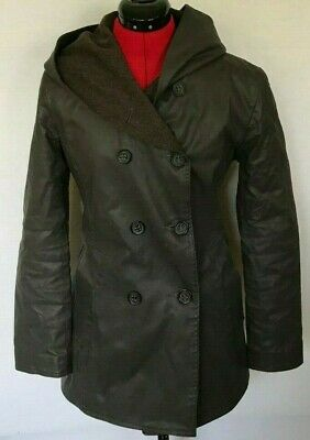 $ CDN114.10 • Buy M0851 Jacket Coated Leather Wool Hooded Double Breasted Canada Brown Size 4 6