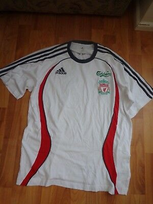 Classic Official Liverpool Adidas White Football T-shirt 38/40 Mens Medium • 13.99£