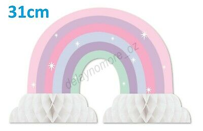 AU6.49 • Buy Mermaid Unicorn Birthday Party 1x Rainbow Honeycomb Centrepiece Table Decoration