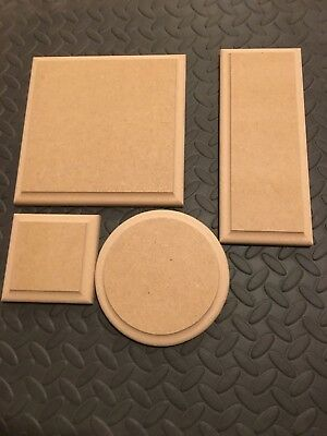 WOODEN PLAQUES Circles / Square / Rectangle 18mm MDF Blank Signs Plinth Stands • 2.65£
