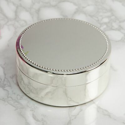 Personalised Round Silver Plated Jewellery/Trinket Box - Engraved Name & Message • 19.99£