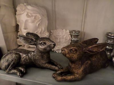 Hand Cast Painted Laying Down Rabbit  / Hare Ornament Bronze Black Silver • 17.99£