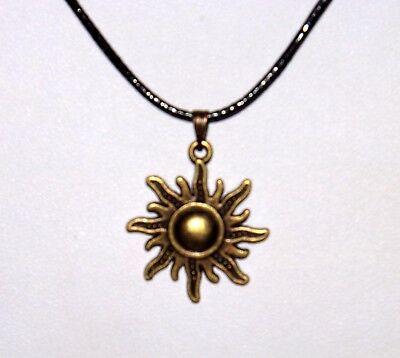 £3 • Buy Bronze Sun Necklace With Adjustable Black Braided Leather Cord.