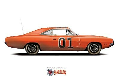 £12 • Buy General Lee Car The Dukes Of Hazzard 1969 Dodge Charger(DIRTY VERSION) A3 Poster