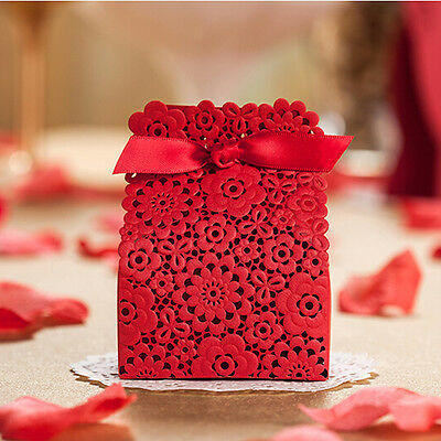 Classic Red Lace Wedding Party Favours Candy Sweets Boxes Bags Table Decorations • 3.41£