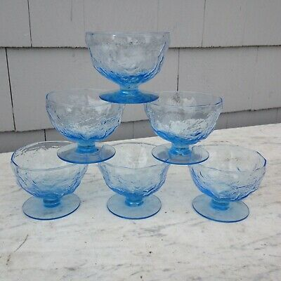 6 Crinkle Blue By Morgantown Glass Champagne Tall Sherbet Glasses 2 3/4  • 21.24$