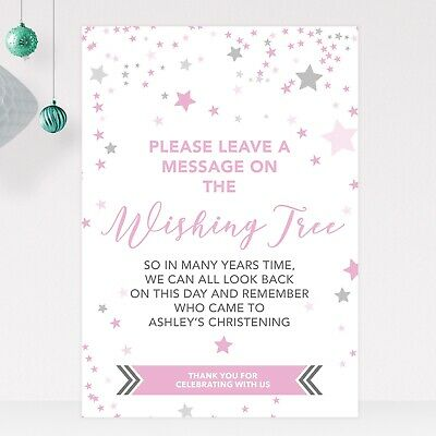 £5.50 • Buy Wishing Tree Sign For Christening Birthday Baptism In Blue, Pink Or Green (ST10)