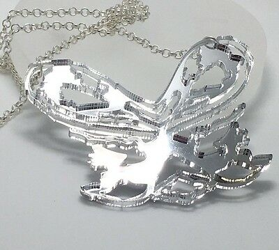 Abstract Statement  Necklace Silver Mirror Acrylic Laser Cut Pendant Chain G351 • 15.49£