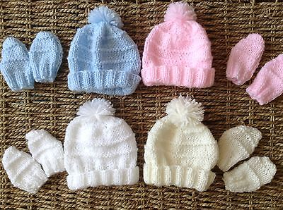 Brand New Hand Knit Baby Annabell Doll Hat And Mitts 3/5 Lbs Fits Tiny Baby • 2.99£