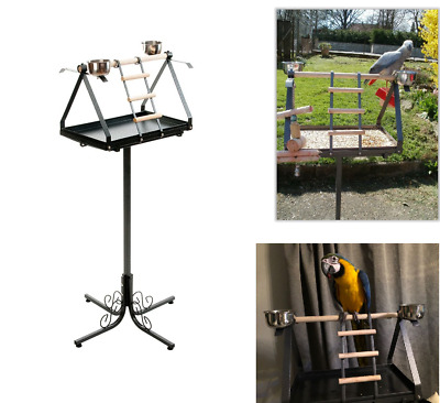 Large Parrot Play Gym Stand Free Standing Perch Classic Style Iron Dirt Tray UK • 450£