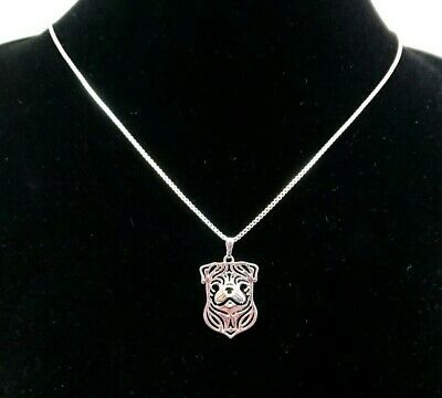 £7.99 • Buy Silver Pug Dog Pendant Necklace Box Chain Gift Boxed