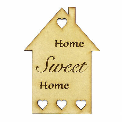 £2.15 • Buy Home Sweet Home Laser Cut MDF Wooden House Home Shapes Tags New Home