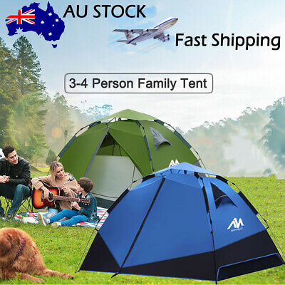 AU129.99 • Buy 3-4 Person Automatic Family Camping Double Layer Tent Waterproof Outdoor Beach