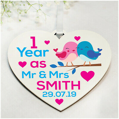 PERSONALISED 1st 5th 10th Wedding Anniversary Gifts For Husband Wife ANY Year • 4.99£