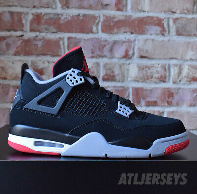 51ab989fc8c020 2019 Nike Air Jordan 4 Retro OG BRED Black Red Cement Grey Men s GS Size 4Y