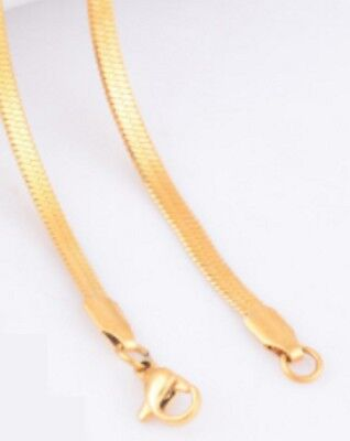 16-24  3mm Wide Stainless Gold Tone Flat Snake Chain Necklace Pendant STsn3FLG • 5.49£