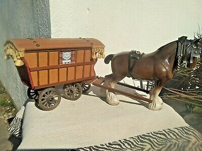 Large Vintage Wooden Gypsy Wagon & Pottery Porcelain Shire Horse • 75£