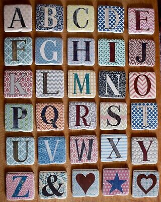 Alphabet Stone Resin Ceramic Coasters Coffee Initial Drink Shabby Chic Gifts • 3£