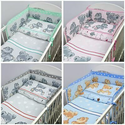 £20.99 • Buy 3 Piece Children Bedding Set With Bumper For Baby 120x60 / 140x70 Cm Cot Bed
