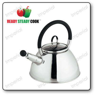 Stainless Steel & Glass 1.5L Whistling Kettle By Ready Steady Cook Camping Stove • 10.95£