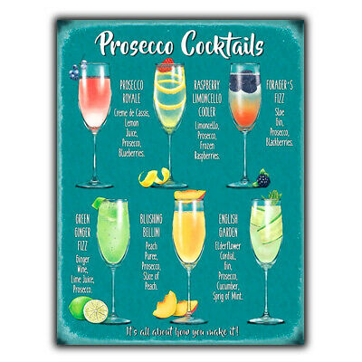 £4.45 • Buy PROSECCO COCKTAIL RECIPES A5 METAL SIGN PLAQUE Print Bar Cafe Kitchen Restaurant