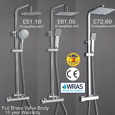 Bathroom Thermostatic Shower Mixer Set Twin Head Chrome Exposed Valve Round Set • 70.05£