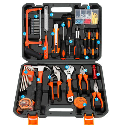 AU55.99 • Buy 102 PCS Household Tools Home Garage Tool Set Kit With Hammer Pliers Screwdrivers