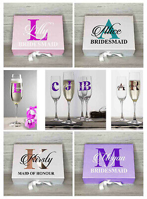 Wedding Vinyl Champagne Flute Glass Gift Personalised Name Initial Decal Sticker • 1.49£