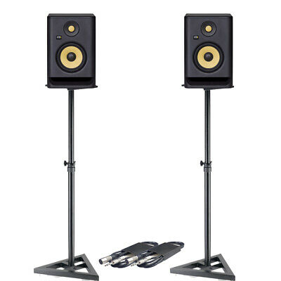 £369 • Buy KRK Rokit RP5 G4 (Pair) With Monitor Stands & Cables Bundle Deal
