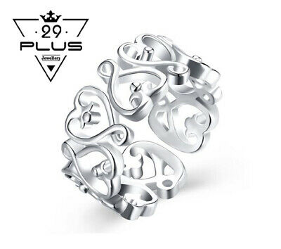 AU6.29 • Buy Stunning 925 Sterling Silver Filled Filigree Hollow Heart Adjustable Ring Gift
