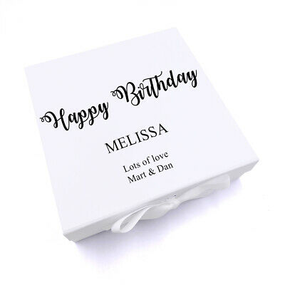 Large Personalised White Keepsake Gift Boxes Any Name Any Occasion PV50 • 13.99£