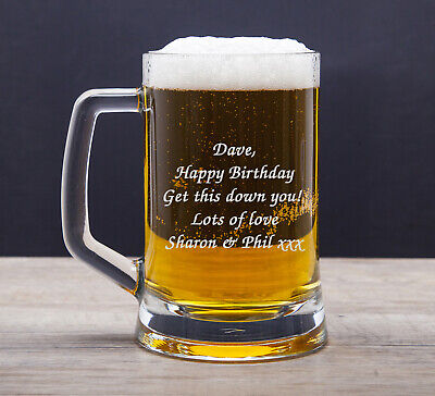 Personalised Engraved Pint Beer Glass Tankard 18th 21st 30th 50th Birthday Gifts • 17.99£