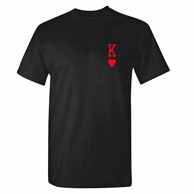 Mens KING OF HEARTS Tshirt - Tattoo Playing Cards - Romantic Gift Him - Queen • 7.95£