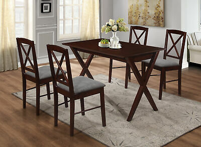 $265.99 • Buy Kings Brand - Beverly 4-Piece Cappuccino Wood Dining Room Set, Table & 4 Chairs