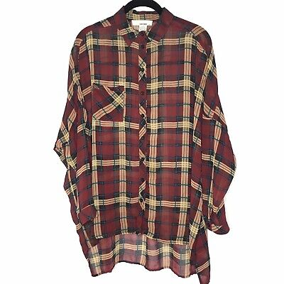 $19.99 • Buy Sans Souci Women Plaid Sheer Oversized Button Up S