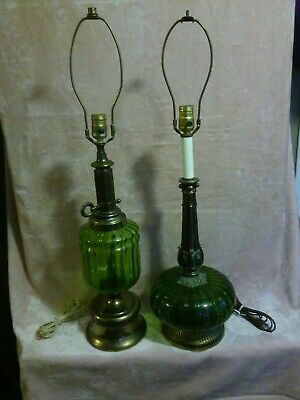 $179.99 • Buy 1970's Round Green Glass Table Lamps Hippie Type Gothic Style Vintage Retro 23