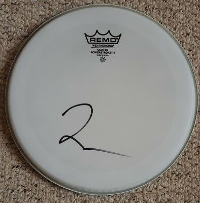 Taylor Hawkins ' Foo Fighters', Hand Signed In Person 10  Remo Drum Skin. • 99.99£