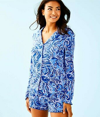 NWT Lilly Pulitzer Ruffle PJ Button-Up Top Coastal Blue Whispurr Size  Medium M  • 37.95$