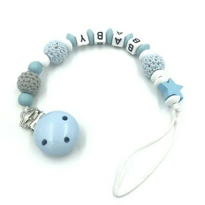 Personalised Boy Name Baby Pacifier Clips  Dummy Clips Baby Feeding Wooden Beads • 2.85£